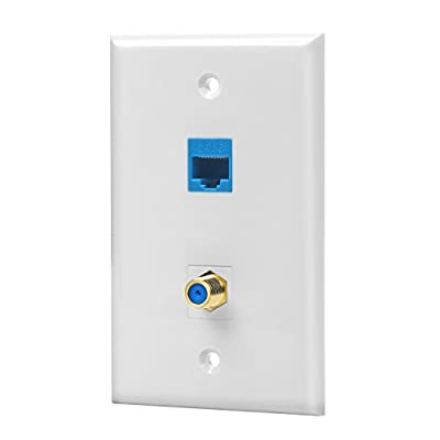IBL- Cat6 Ethernet Port and Gold-plated Cable TV Coax F Type Port Wall Plate (White)