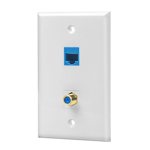 Coax Wall Plate - IBL-1 Cat6 Ethernet Port and 1 Gold-plated Cable TV Coax F Type Port Wall Plate (White)