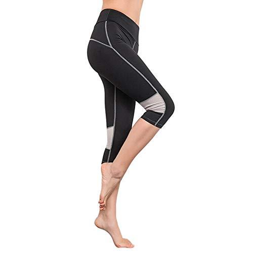 iLUGU Womens Elasticity Exercise Running Yoga Sports Fitness Work Out Pants Yoga Grey Leggings Gym Trouser