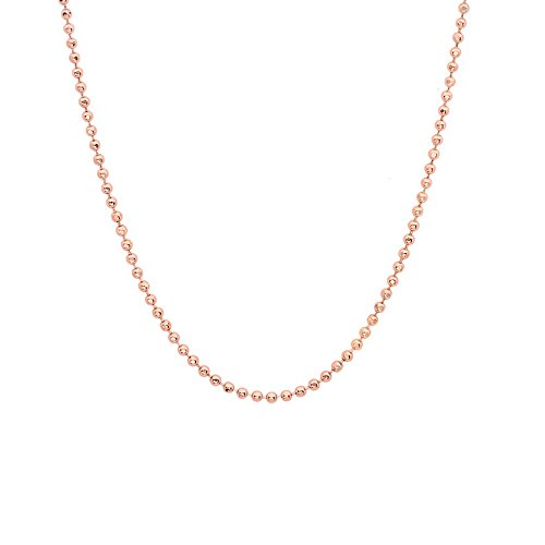JewelStop 14k Solid Rose Gold 1 mm Diamond-cut Bead Chain Necklace, Lobster Claw - (14k Gold Beaded Necklace)