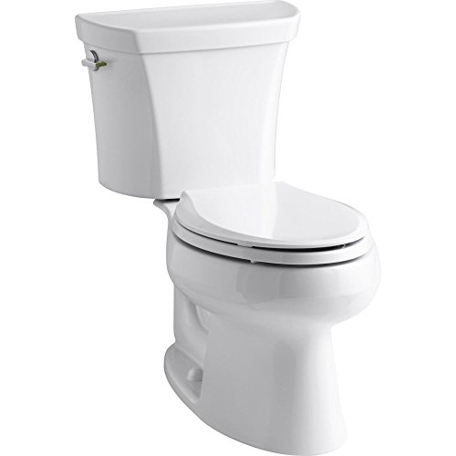 KOHLER K-3988-0 Wellworth Two-Piece Elongated Dual-Flush Toilet with Class Five Flush System and Left-Hand Trip Lever, White (Two Toilet Piece Wellworth)