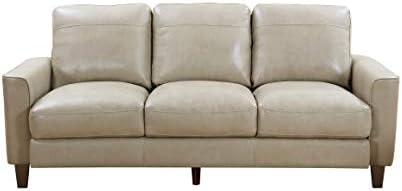 Oliver Pierce Landon Leather Sofa, Grey