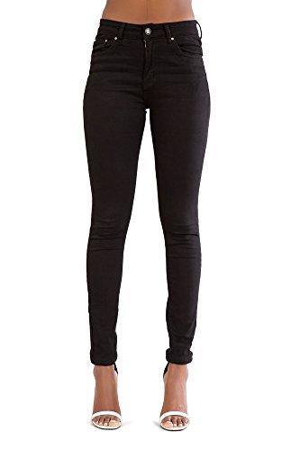A Denim Donna Elastico Alta Fit Pantaloni Vita Magro Nero Jeans 5x5rq7I