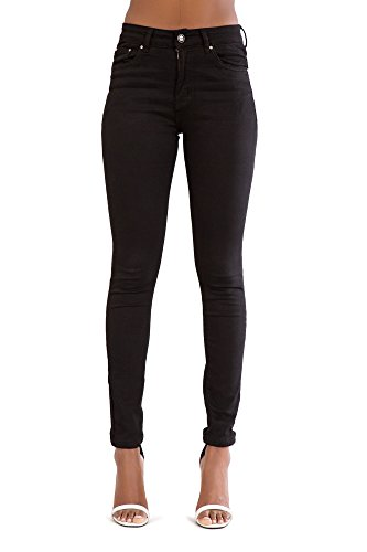 Jeans Elastico A Nero Pantaloni Fit Alta Magro Vita Donna Denim YCS88x