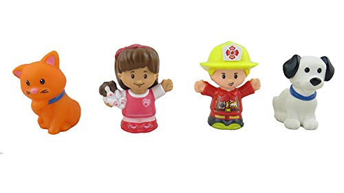 Fisher-Price Little People Animal Rescue - Replacement Figures - Includes Fireman, Girl (Mia), Cat and Dog
