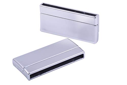 KONMAY 3 Sets Magnetic Jewelry Clasps Rectangle Shaped, Matte Silver, 40.0x3.0mm