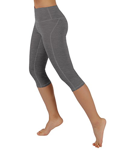 ODODOS Power Flex Yoga Capris Tummy Control Workout Non See-Through Pants with Pocket,Gray,X-Small