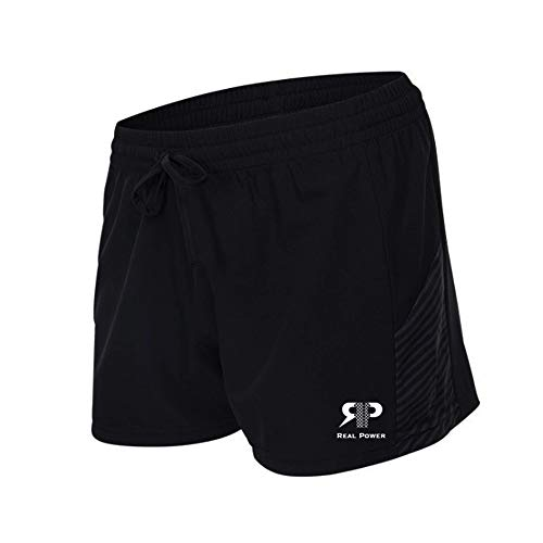 Real Power Woman Sport Shorts Running/Fitness/Workout/Empower Yourself! Black, Large