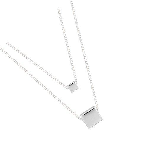 925 Sterling Silver Multilayer Square Geometric Flashing Dangle Pendant ()