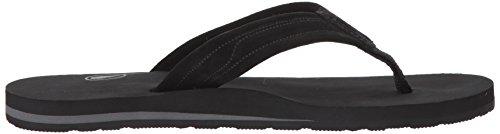 Volcom Men's Driftin Suede Strap Leather Flip Flop Sandal Black lsyVCTU