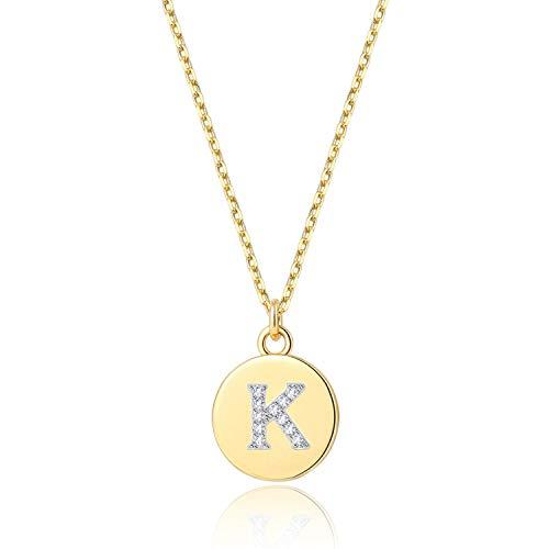 14K Gold Initial Necklace - Dainty Disc K Letter Neckalces for Women Girls