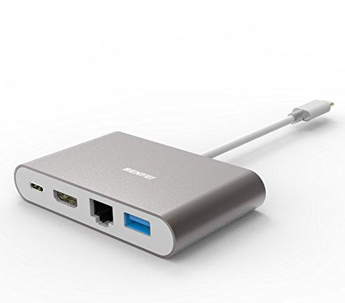 USB Type C to HDMI, Benfei USB C Digital AV Multiport Adapter | USB Type C to HDMI | USB Type C to USB 3.0 Hub | USB-C Female Charger Converter | USB-C to Ethernet Hub