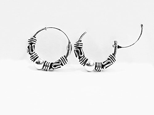 Sterling Silver Tribal Bali Ball Woven Snake Hoops Earrings 12mm -Cartilage Hoop Earrings
