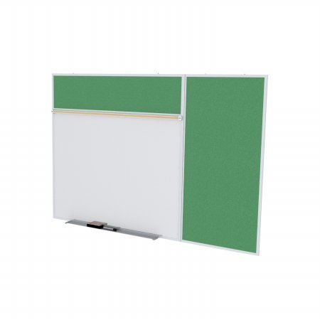 Ghent SPC416B-V-197 4 ft. x 16 ft. Style B Combination Unit - Porcelain Magnetic Whiteboard and Vinyl Fabric Tackboard - Spruce by Ghent