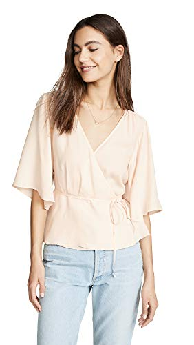 7 For All Mankind Women's Wrap Front Top, Pink Sunrise, Medium 7 For All Mankind Shirts