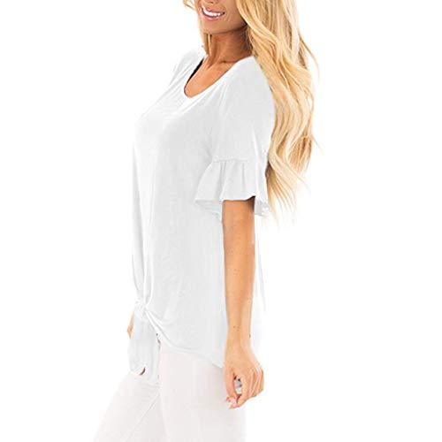 Colore 2xl Top Corta Bianca Cotone Magliette Manica Moda A O Sciolto Solido Estive Prettyjourney♚donna Maniche Casual Corte Di Camicetta Felpe collo Bluse Comode S p5wWBq