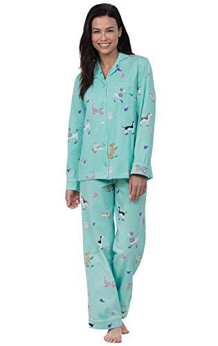 PajamaGram Womens Pajamas Soft Cotton - Dog Pajamas for Women, Blue, S, 4-6