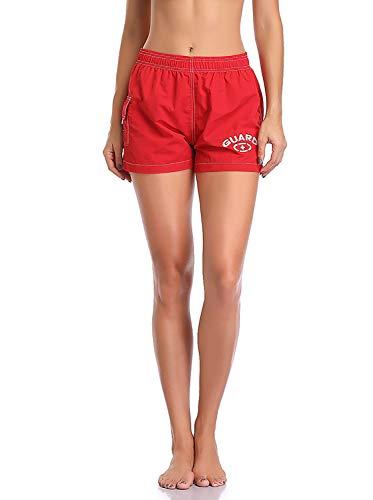 Adoretex Women's Guard Quick Dry Swim Board Shorts Swimsuit (FGB013) - Red - Small (Lifeguard Shorts Women)