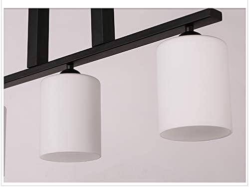 LED Pendant Light with Glass Lampshade Matte Black 3-Lights Pendant Lighting Adjustable Industrial Retro Style Hanging Light Fixture
