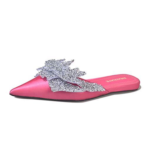 AIMTOPPY Ladies Sequined Rhinestone Pointed Toe Cap Semi-Flat Bottom Slippers