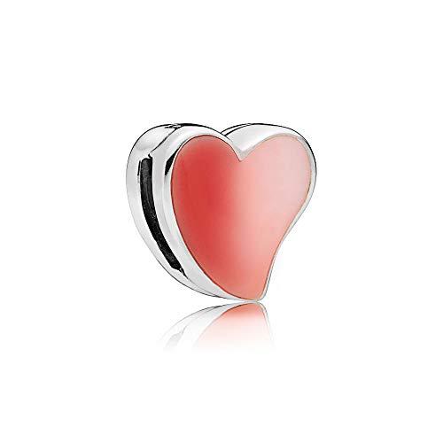 [판도라] PANDORA Reflexions Asymmetric Heart of Love 클립 매력 핑크 (스털링 실버, 에나멜) 정식 수입품 797809ENMX