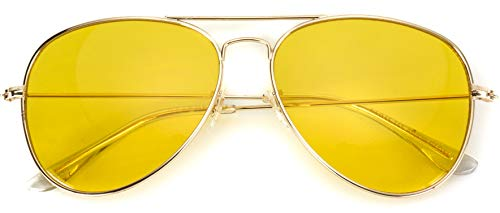 Classic Aviator Style Metal Frame Sunglasses Colored Lens (Gold Frame/Yellow Tint, -