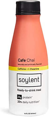 Chai Soylent Meal Replacement Shake, Cafe Chai, Complete Meal in a Bottle, 20g Plant Protein, 14 oz Bottles, 12 Pack(Packaging may vary)
