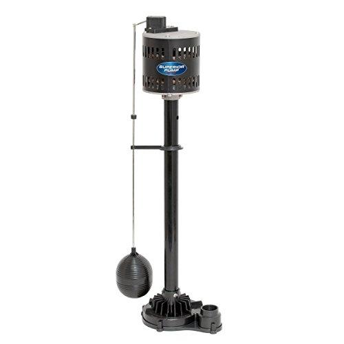Superior Pump 92333 Thermoplastic Pedestal Sump Pump, 1/3 HP, Black