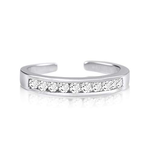 Cubic Zirconia White Gold Toe Ring - Rhodium Plated Sterling Silver Toe Rings Round Cut Cubic Zirconia White Channel Set