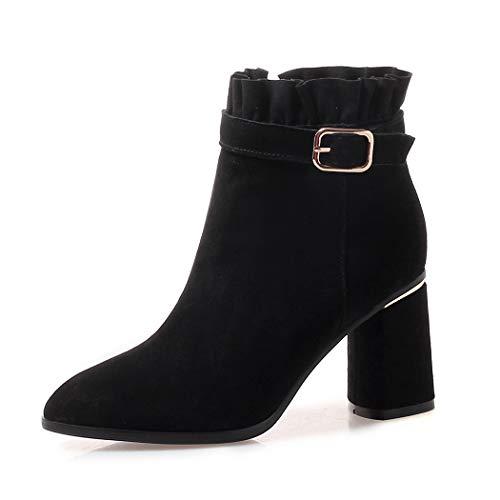Tacon Fashion Hebillas Negro Vestir Otoño Estilo Elegantes Botas Annieshoe Ancho De Mujer Motero pWnz6OSq0w