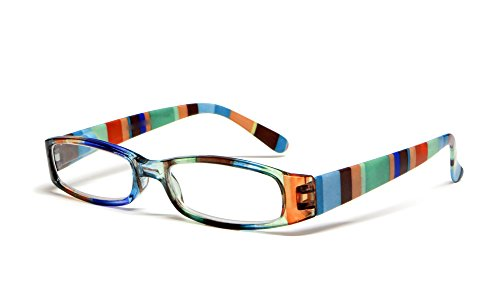 Calabria R576 Womens Colorful Striped Reading Glasses Incredibly Lightweight and Comfortable Soft Slip In Case Included