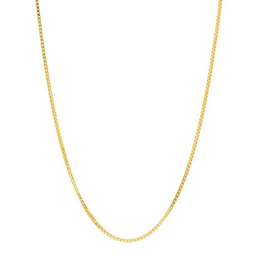 NYC Sterling Gold Plated Sterling Silver .8mm Box Link Chain Necklace Lobster Claw Clasp (24