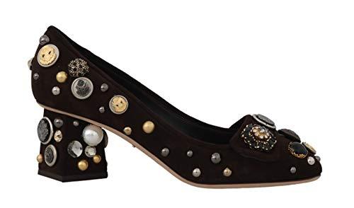Dolce & Gabbana Brown Suede Crystal Studs Logo Pumps