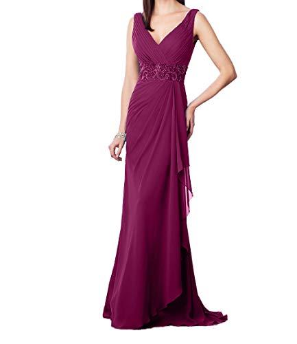 Fuchsia Festlichkleider Dunkel Perlen Elegant Pailletten V Charmant Ausschnitt Ballkleider Abendkleider Damen Promkleider mit 7xROWAH