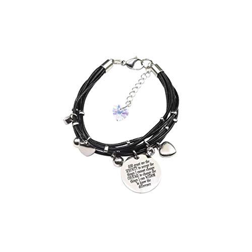 Swarovski Crystal Prayer Box Bracelet - Pink Box Genuine Leather Bracelet Made with Crystals from Swarovski - Serenity Prayer
