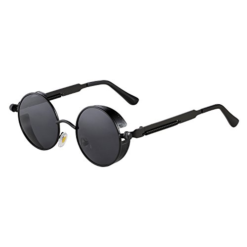 ZHILE Vintage Hippie Retro Metal Perfect Round Circle Small Frame Sunglasses with Polarized Lens 47mm (Black, - Small Sunglasses Circle