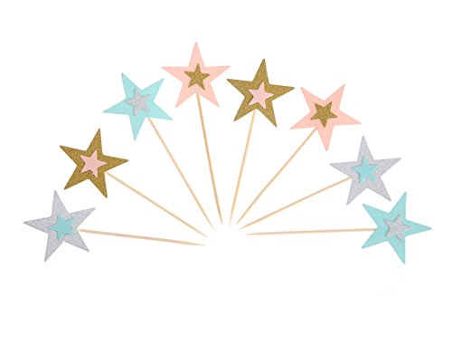 UUPP 40 Pieces Colorful Twinkle Star Cake Topper Party Cocktail Tropical Cupcake Picks for Party Decorations ()