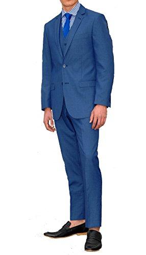 - Ferrecci Men's Jax New Blue Slim Fit Notch Lapel 3 Piece Suit - 40L