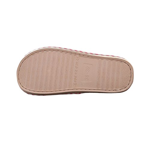 slip Pink for 6 Us Shoes Linen Casual Men Size and Non Slippers Women 5 Unisex Comfort Inside Slipper Cotton w6S8Iq
