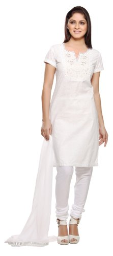 In-Sattva Women's Yoke Embroidered 3-piece Salwar Kameez Ensemble White X-Small