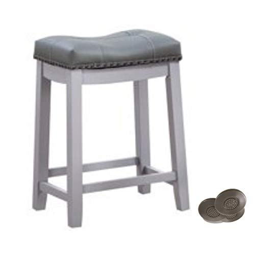 "Angel Line 43418-21 Cambridge bar stools, 24"" Set of 1, Gray w/Gray Cushion and Adhesives Floor Protector"