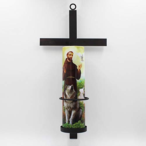 (The Saints Collection St. Francis LED Flameless Devotional Candle with Latin Cross Wall Sconce )