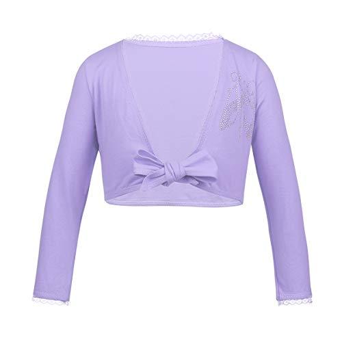 iEFiEL Kids Girls Front Knot Shrug Ballet Dress Sweater Cardigan Top Lavender Cotton 3-4 -