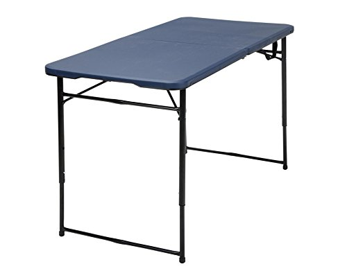 COSCO 4 ft. Indoor Outdoor Adjustable Height Center Fold Tailgate Table with Carrying Handle, Dark Blue Table Top, Black Frame