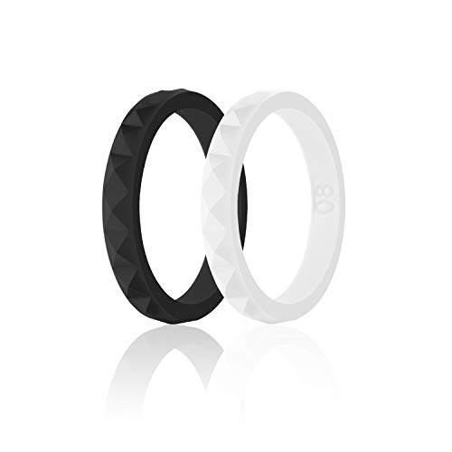 SANXIULY Womens Silicone Ring&Rubber Wedding Bands for Workout and Sports Width 3mm Pack of 2 Size - Wedding Diamond Hammered Band