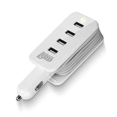 EEEKit 3ft 4-Ports USB Car Charger Power Strip Travel Charging Cord Station Dock Cell Phones iPone Samsung Road Trips