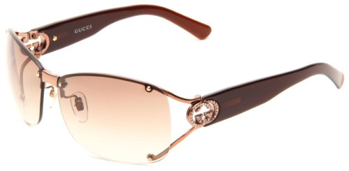 Gucci Women's 2820/F/S Wrap Sunglasses,Shiny Brown Frame/Brown Gradient Lens,One - Gucci Brown