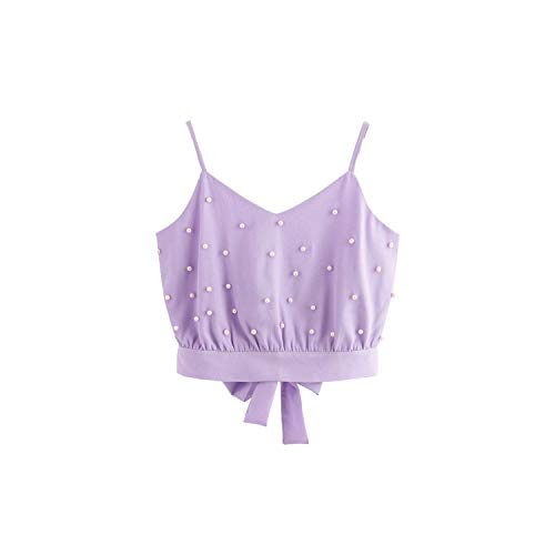 meet-you Womens Vest Chiffon Camisole Sveless Tops Solid Pearl Beading Camis,Pule,L, Purple