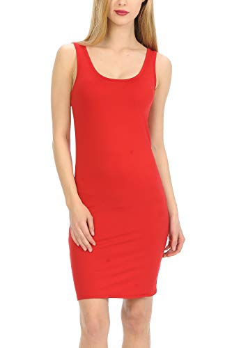 - MINEFREE Women's Scoop Neck Slim Fit Stretchy Bodycon Tank Mini Dress RED M