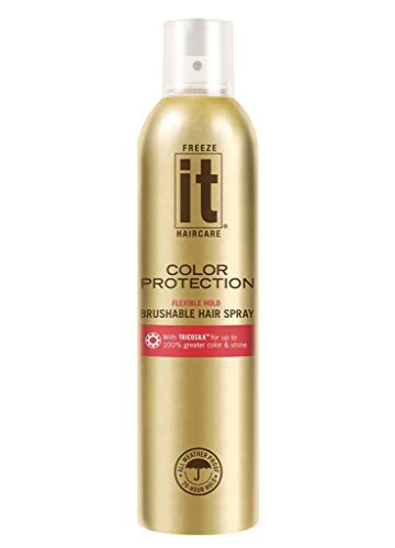 IT Haircare Freeze Color Protection Flexible Hold Brushable Hair Spray | 7.75 Oz. | Infused with Tricosilk for up to 100% Greater Color & Shine | Strongest Hold in ALL Weather | UV Protectant